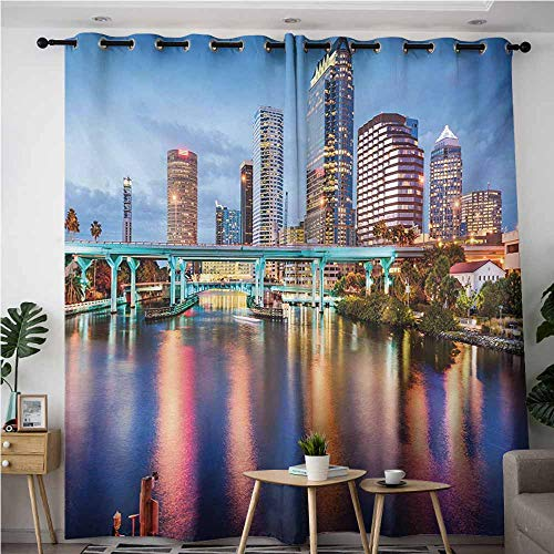 AndyTours Blackout Curtains,City,Hillsborough River Tampa Florida USA Downtown Idyllic Evening at Business District,Curtains for Living Room,W108x72L,Multicolor -