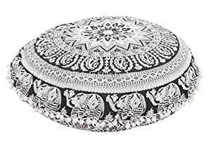 "Large 32"" Round Pillow Cover, Decorative Mandala Pillow Sham, Indian Bohemian Ottoman Poufs, Pom Pom Pillow Cases, Outdoor Cushion Cover (Pattern 7)"