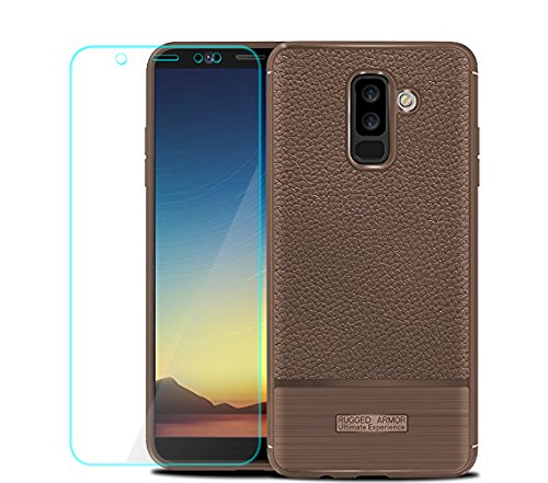 promo code 533d5 37c87 Galaxy A6 Plus 2018 Case with HD Screen Protector, Galaxy A6+ 2018 Case,  YYQUEEN Slim Flexible Leather Texture Grip and Anti-Shock and Anti-Slip  Cover ...