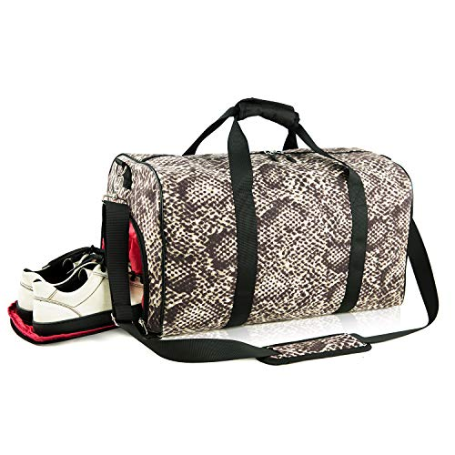 (Canvas Sports Duffels Gym Bag Weekend Overnight Bag Travel Duffle with Shoes Compartment for Women,Ladies,Girls,Men)