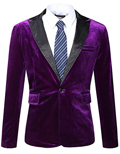JASSYOY Mens Modern Fit Casual Velvet One Button Blazer Jacket Purple