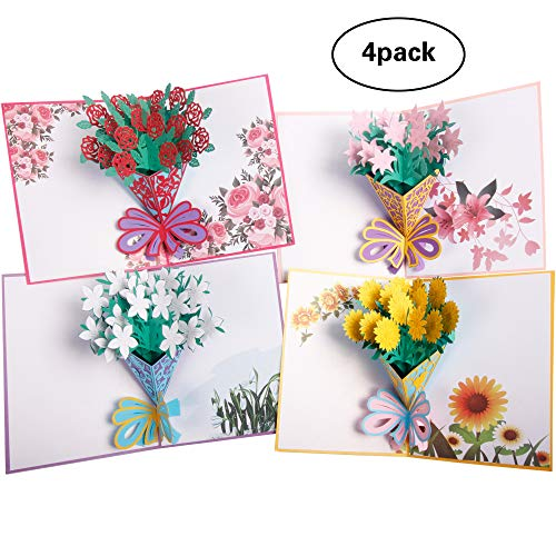 3D Flower Cards |Pop Up Greeting Cards for Mom |Handmade Blank Cards for Birthday Anniversary All Occasions| 4 Pack & Envelopes