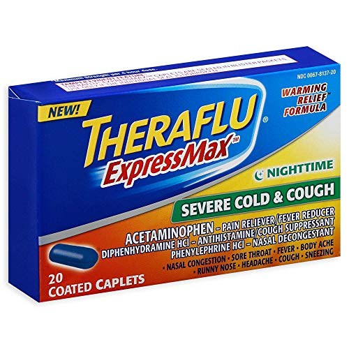 Theraflu ExpressMax Nighttime Severe Cold & Cough Coated Caplets - 20 ct, Pack of 2
