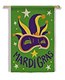 Gifted Living 13B3256 Green Burlap Mardi Gras Mask House Flag, Multicolored
