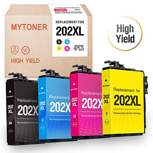 (Mytoner Remanufactured Ink Cartridge Replacement for Epson 202XL T202XL 202 T202 High Yield Ink for Workforce WF-2860 WF2860 Home XP-5100 XP5100 Printer(Black, Cyan, Magenta, Yellow, 4pk))