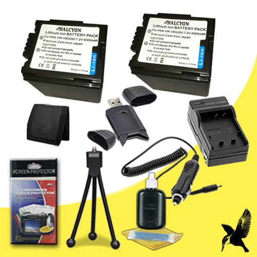 Two Halcyon 4000 mAH Lithium Ion Replacement VW-VBG260 Battery and Charger Kit + Memory Card Wallet + SDHC Card USB Reader + Deluxe Starter Kit for Panasonic AG-AC7, AG-HMC40, AG-HMC80, AG-HMC150, HDCHS700, HDCTM700, HDCSD600, HDCSD700, HDCMDH1 Digital Ca by Halcyon