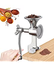 CGOLDENWALL Manual Grain Grinder Mill Stainless Steel Poppy Seeds Mill Hand-Operated Coffee Grinder with Fineness-Adjustable Spring for Spice Pepper Corn Chickpeas Coffee Beans Grains