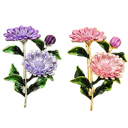 Monrocco 2 pcs Daisy Flower Honey Bee Brooch Chrysanthemum Pin Spring Jewelry