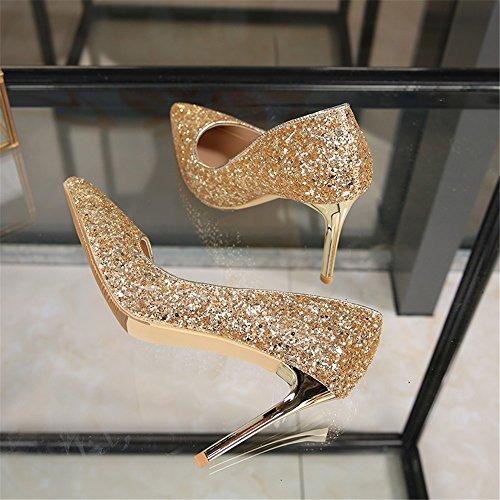 HXVU56546 Durante La Primavera Y El Otoño Nueva Zapatos De Tacón Punta Luz-Boda Zapatos De Mujer Gold