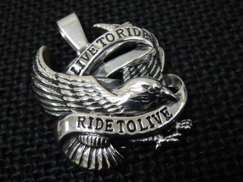 The Biker Metal 316L Stainless Steel Live to Ride Eagle Pendant w FREE Chain for 81 Outlaw Harley TP-16