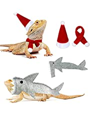 Reptile Santa Hat Scarf Shark Outfit Set, Lizard Clothes Pet Bearded Dragon Shark Costume Christmas Halloween Clothing Accessories
