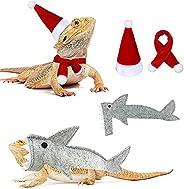 Reptile Santa Hat Scarf Shark Outfit Set, Lizard Clothes Pet Bearded Dragon Shark Costume Christmas Halloween