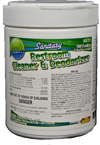 Aqua ChemPacs AQ731 Sanitary Restroom Cleaner and Deodorizer, 0.32-Ounce (100 Count) by Aqua ChemPacs