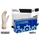 AMMEX - TL46100 - Latex Gloves - Gloveworks - Disposable, Powdered, Industrial, 4 mil, Large, White (Case of 1000)