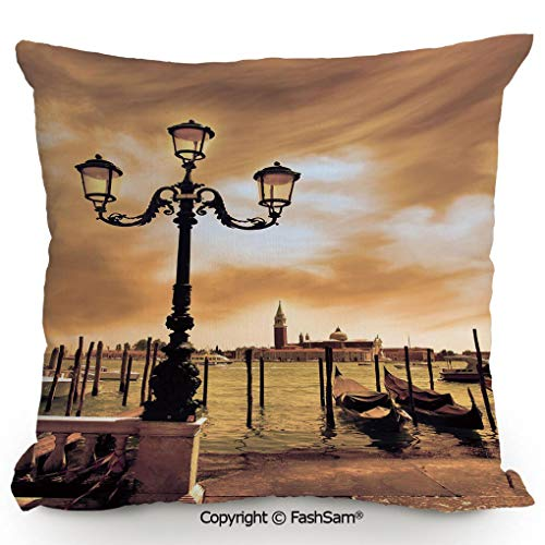 FashSam Home Super Soft Throw Pillow Venice Lagoon Gondolas Moored by Saint Mark Square on Grand Canals Dreamy Sky Decorative for Sofa Couch or Bed(24