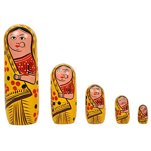Fine Craft India Set of 5Pcs Hand Painted Cute Wooden Indian Matryoshka Stacking Nested Wood Yellow Dolls (Wood Doll Vintage)