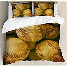Ambesonne Vintage Duvet Cover Set Twin Size, Vintage Baseball Background American Sports Theme Nostalgic Leather Retro Balls Artwork, Decorative 2 Piece Bedding Set with 1 Pillow Sham, Brown