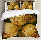 Ambesonne Vintage Duvet Cover Set Twin Size, Vintage Baseball Background American Sports Theme Nostalgic Leather Retro Balls Artwork, Decorative 2 Piece Bedding Set with 1 Pillow Sham, Brown