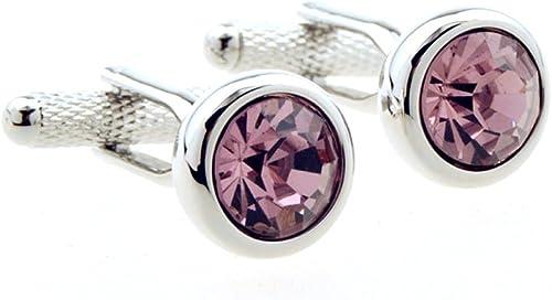 Large Pink Crystal Cufflinks