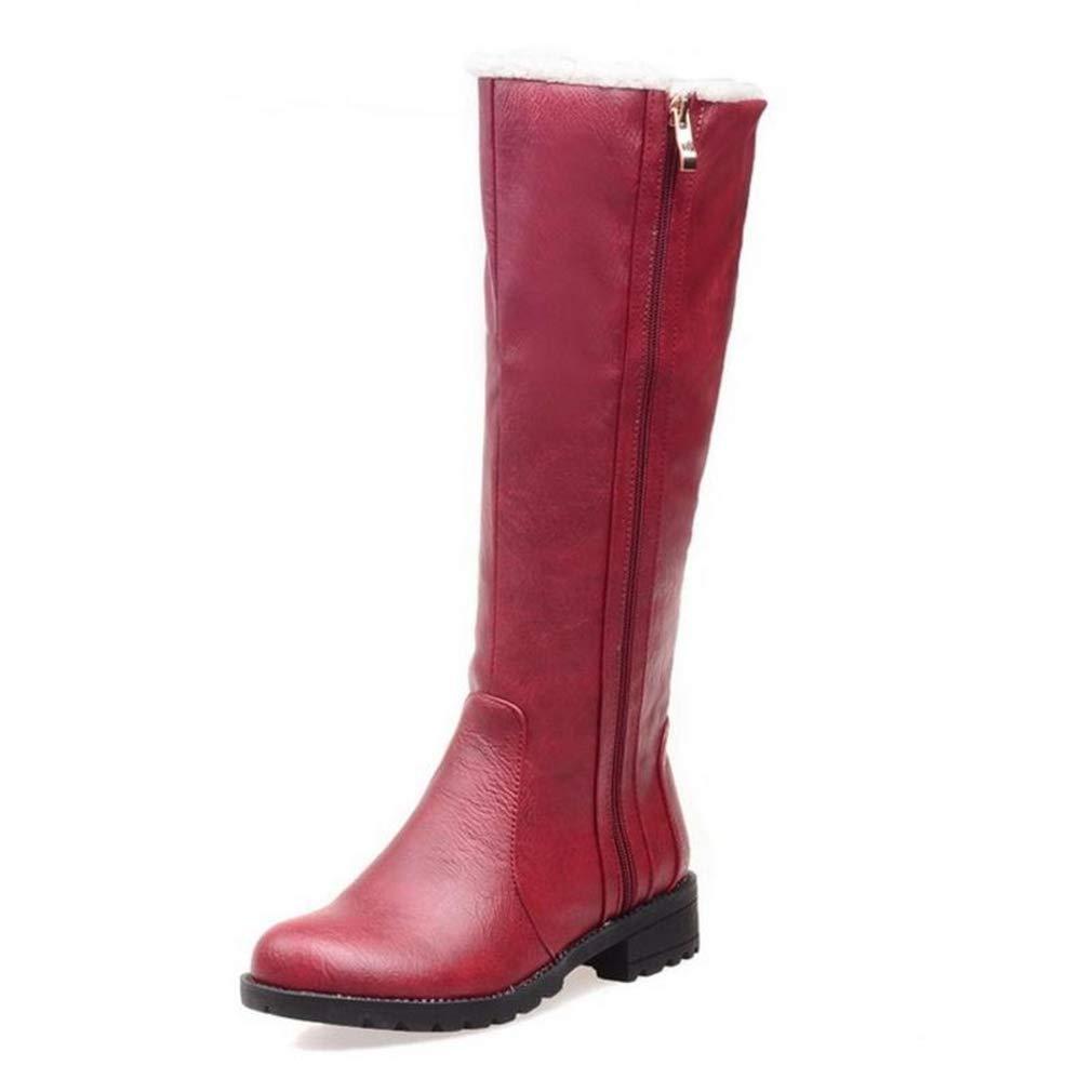 Red Webb Perkin Women Half Short Boots Flats Snow Boots Cold Winter shoes Zipper Footwear Lady Fashion Mid Calf Boots
