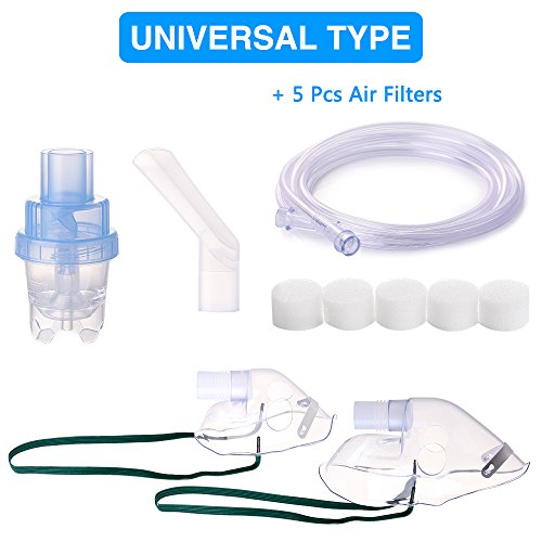 Elite Compressor Nebulizer - Cool Mist Inhaler Accessories Tubing, Mask Kit with 5 Sponges