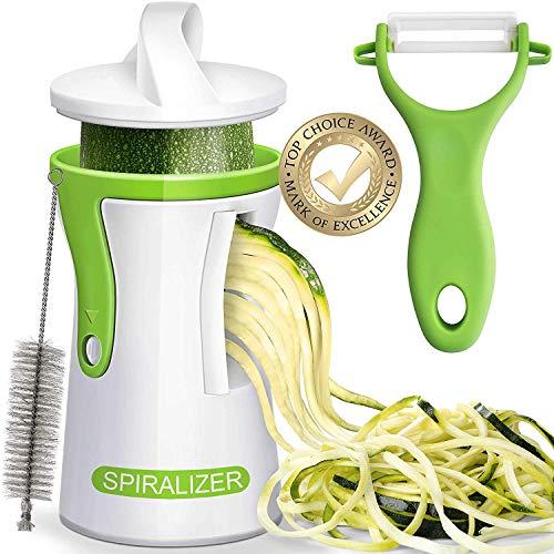 Newest 2019 Improved Heavier Duty Spiralizer Vegetable Slicer Complete Bundle - Best Vegetable Cutter - Zucchini Pasta Noodle Spaghetti -