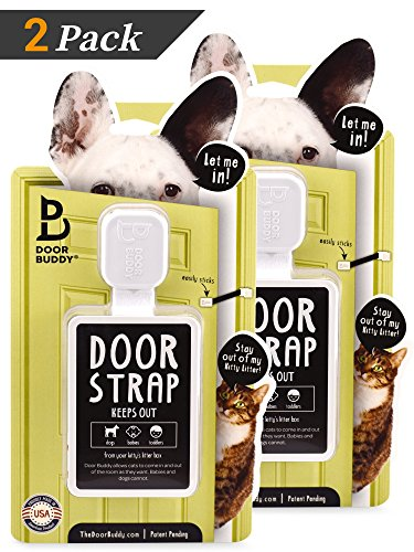 Door Buddy Adjustable Door Latch (Grey 2 Pack + 2 Bonus Adhesives). Simpler Way to Dog Proof Litter Box. No more Pet Cates or Cat Doors. Convenient Cat & Adult Entry. Stop Dog Eating Cat Poop Today! 514pnSV wZL