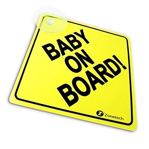 """Zone Tech """"Baby On Board"""" Vehicle Safety Sign - Premium Quality Reflective Convenient Reusable """"Baby on Board"""" Vehicle Safety Sign with Suction Cups 5""""x5"""""""