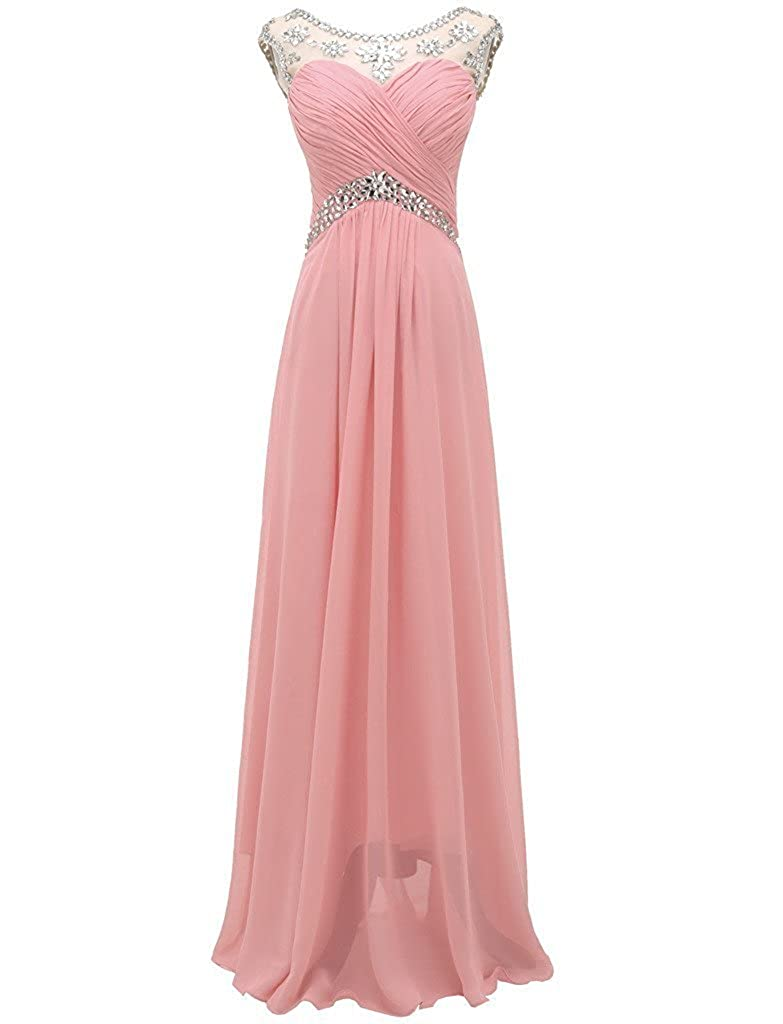 Pink APXPF Women's Crystals Evening Bridesmaid Dress Bride Party Prom Gown