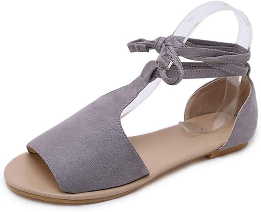LOVEXIN Sandalias para Mujer Alpargatas con Plataforma de Peep Toe Planas Zapatos con Cordones en los Tobillos Zapatos con Sandalias con Tiras y Cordones SH965056ES / 32