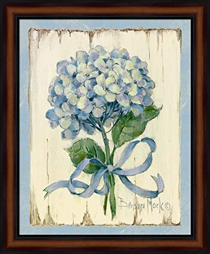 (Blue II by Barbara Mock Framed Art Print Wall Picture, Traditional Brown Frame, 19 x 23 inches)