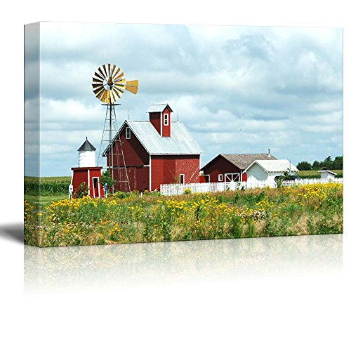 Canvas Prints Wall Art - Beautiful Scenery of Windmill, Barn, Sheds and Fence on a Cloudy Day | Modern Wall Decor/Home Decor Stretched Gallery Canvas Wrap Giclee Print & Ready to Hang - 24