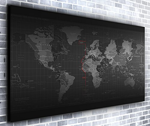 (Map of The World Wall Décor Panoramic Canvas Wall Art Print Framed XXL 55 inch x 30 inch Over 4.5 ft Wide x 2 ft High Ready to Hang Canvas Print)