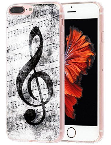 (Case for Phone 7 Plus MUQR Flexible Gel Silicone Slim Drop Proof Protection Cover Compatible with iPhone 8 Plus & Case for Phone 7 Plus Cover Music Note Vintage Design)