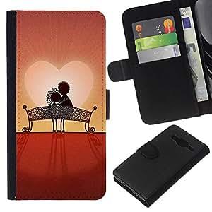 All Phone Most Case / Oferta Especial Cáscara Funda de cuero Monedero Cubierta de proteccion Caso / Wallet Case for Samsung Galaxy Core Prime // Love Couple Sweet Sunset Romantic
