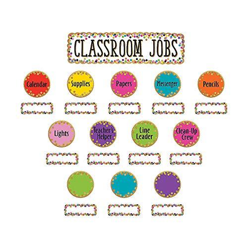 Fun Express - Confetti Classroom Jobs Bb Set - Educational - Classroom Decorations - Bulletin Board Decor - 49 - Confetti Job