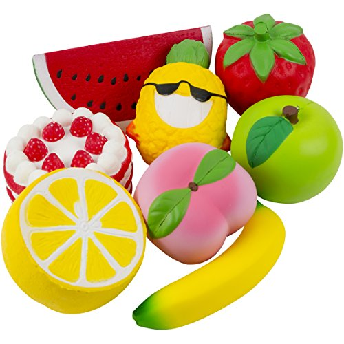 Jumbo Fruit Squishies Slow Rising Toys Extra Large Squishy Set of 8. Perfect for Indoor Games, House Decoration, Education, Stress Relief. Strawberry Cake Apple Peach Lemon Banana Pineapple Watermelon -