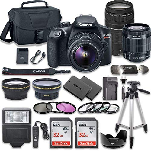 Canon EOS Rebel T6 DSLR Camera Bundle with Canon EF-S 18-55mm f/3.5-5.6 IS II Lens + Canon EF 75-300mm f/4-5.6 III Lens + 2pc SanDisk 32GB Memory Cards + Accessory Kit ()