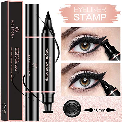 Winged Eyeliner Pencil Stamp - Perfect Cat Eye Vamp Liquid Black Quick Flick Wingliner Waterproof Stencil Wing Long Lasting Smudgeproof Natural Smooth 2 in 1 Duel End (1 Pack) (Best Eyeliner For Cat Eye Look)