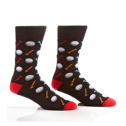 Yo Sox Golf Balls and Tees - Funky Men's Crew Socks for Dress or Casual Wear Size 7-12 Sox Golf
