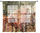 Abstract art sheer drapes, set with two 50''x84'' panels in rust, brown and olive green, Firestarter