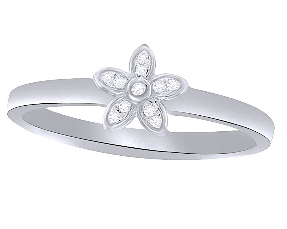 Wishrocks Round Cut Natural Diamond Accent Daisy Stackable Ring in 14K Gold Over Sterling Silver