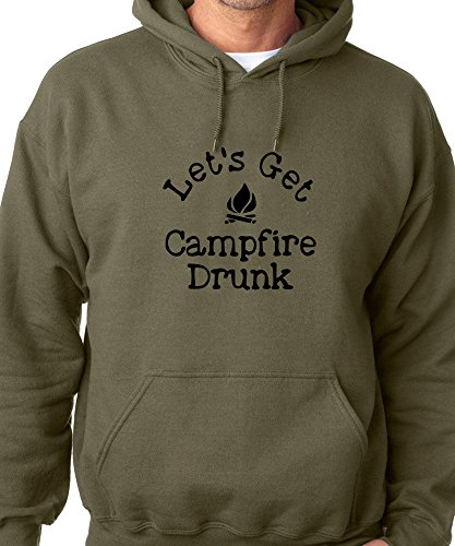 Sweatshirt Military Logo (Lets Get Campfire Drunk Black Logo Drinking Sweatshirt Campfire Hoodie Military (XL))