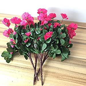 Lopkey Outdoor Indoor Silk Flower Artificial Red Azalea Bush,Rose Red 4pcs 2