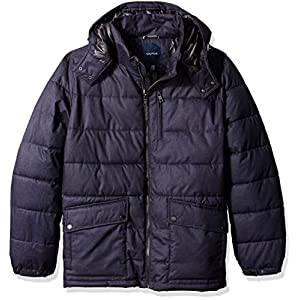 Nautica Men's Big and Tall Brushed Hooded Puffer Parka, Navy, Lt