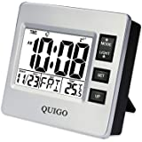 QUIGO Small Digital Travel Alarm Clock with Date&Temperature, Snooze,Nightlight and Battery Operated for Students,Outdoor,Bedroom,Office (Silver)