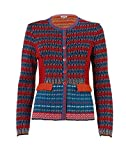 IVKO Merino Wool Sweater with Peplum, Front Button Closure with Pockets, Blue/Red, US 14 - EUR 44