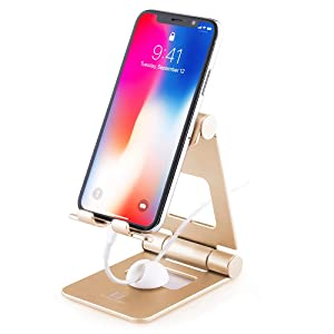 Adjustable Cell Phone Stand, ToBeoneer Desktop Phone Holder, Large Size [Upgraded Solid] Multi-Angle Phone Dock for Mobile Phone Kindle Fire Tablet,Home Bedroom Kitchen Office Décor Accessories (Gold)