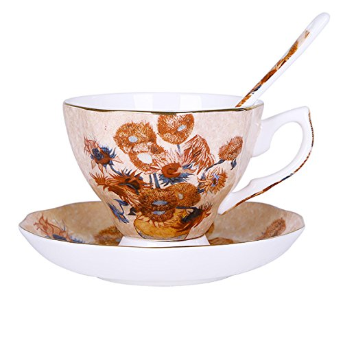 (Vincent Willem Van Gogh Bone China Tea Cup and Saucer Set With Gift Box,