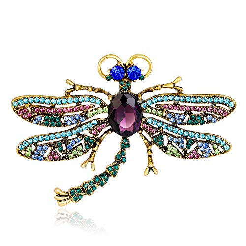 Fashion Rhinestone Dragonfly Insect Shape Brooch Lapel Collar Pin Women Jewelry